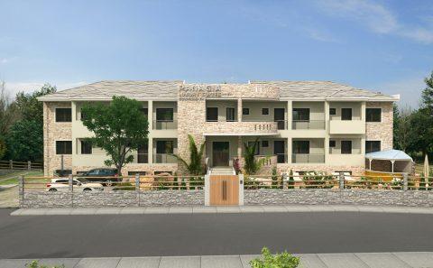 Τρισδιάστατη όψη παραδοσιακού ξενοδοχείου στη Παναγία Θάσου