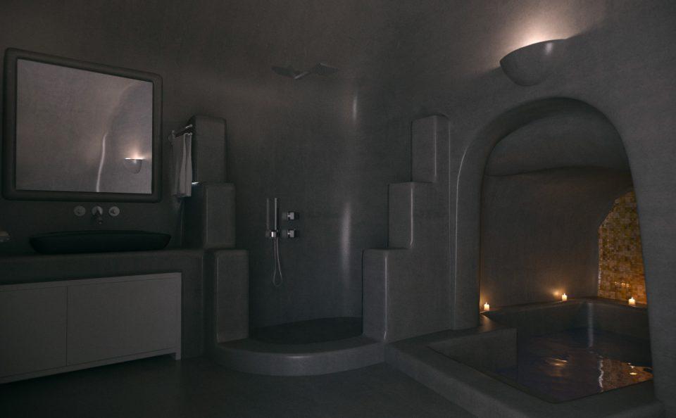Νυχτερινό φωτορεαλιστικο εσωτερικού σαουνας