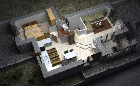 Εικονική αφαίρεση μισού ορόφου για την ανάδειξη εσωτερικής διακόσμησης όλης της κατοικίας