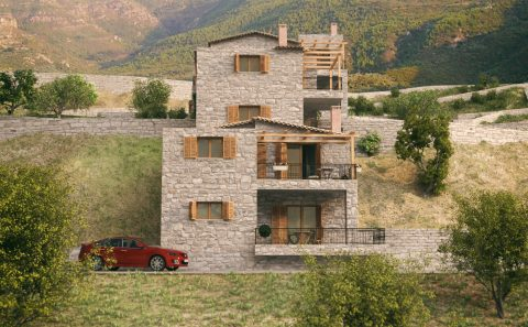 Τρισδιάστατη όψη πέτρινων κατοικιών πριν την κατασκευή τους