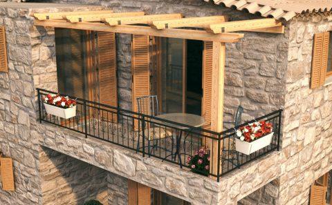Μπαλκόνι πέτρινου σπιτιού με ξύλινη πέργκολα σχέδιο πριν την κατασκευή του