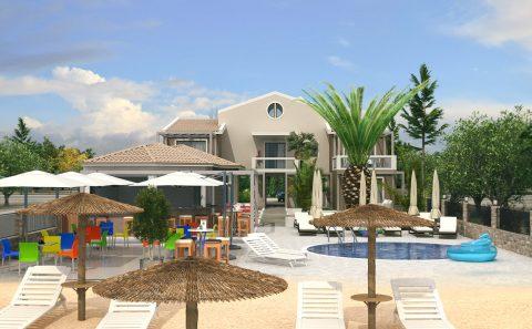 Εξωτερικό φωτορεαλιστικο ξενώνα με πισίνα