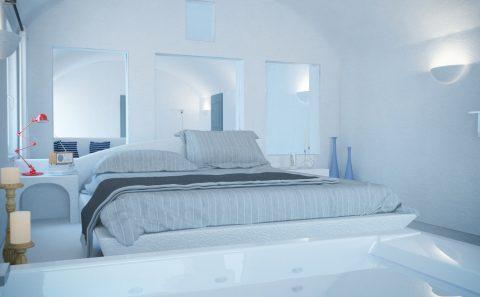 Χτιστό κρεβάτι παραδοσιακού νησιώτικου δωματίου