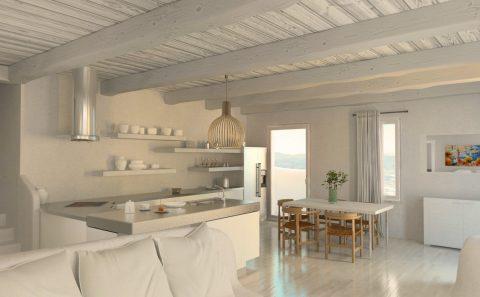 Λευκό ξύλινο ταβάνι με εμφανή δοκάρια