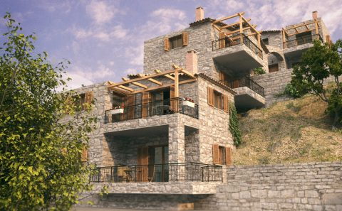 Εικονική άποψη πέτρινων κατοικιών σε κατηφορικο έδαφος