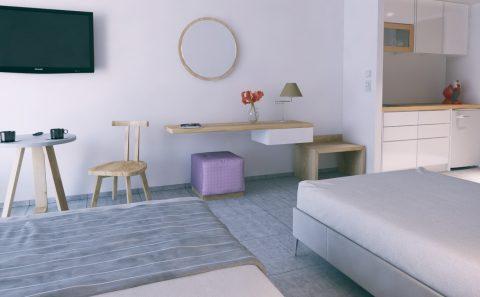 Μινιμαλιστικη επίπλωση δωμάτιο ξενοδοχείου 3d