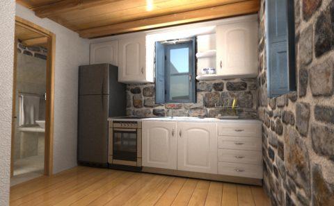 Πέτρα ξύλο κουζίνα 3d εικόνα