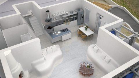 Σχεδιασμένη κατοικία χωρίς σκεπή για την ανάδειξη του εσωτερικού