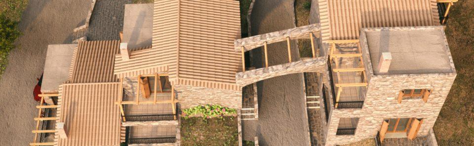 Εικονική άποψη από ψηλά και των τριών κατοικιών