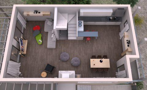 Συνολική παρουσίαση εσωτερικού κατοικίας μοντελοποίημενο