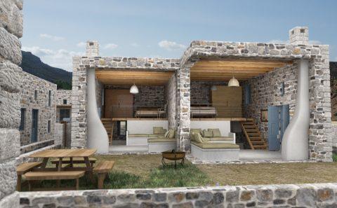 Τρισδιάστατη όψη κατοικίας χωρίς τον μπροστινό τοίχος