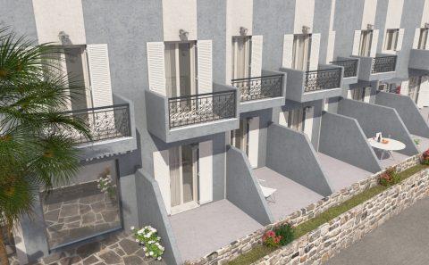 Μπαλκόνια δωματίων ξενοδοχείου 3d μοντέλο