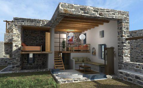 Εικονική τρισδιάστατη τομή πέτρινης κατοικίας