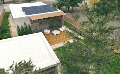 Ηλιακοί συλλέκτες στη ταράτσα τρισδιάστατων σπιτιών