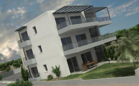 Άποψη της πολυκατοικίας με την διαμόρφωση περιβάλλοντος χώρου