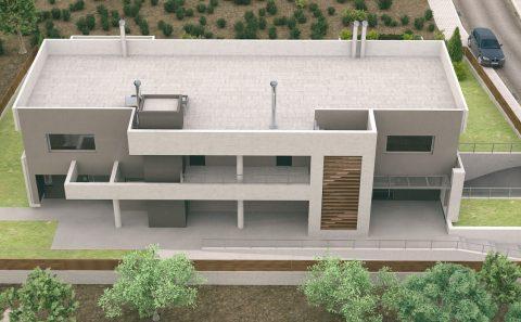 3d πίσω όψη κτιρίου