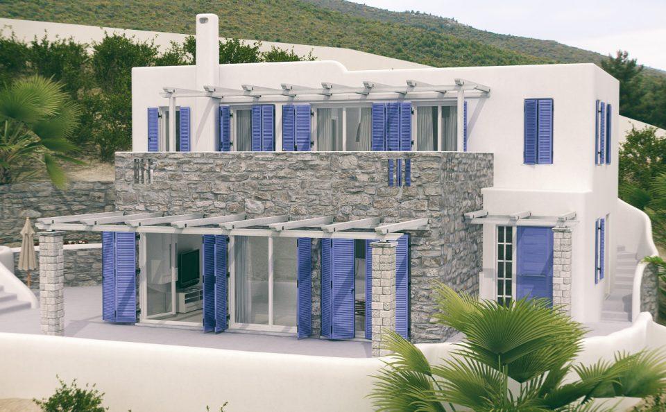 Φωτορεαλιστική αναπαράσταση νησιωτικής κατοικίας