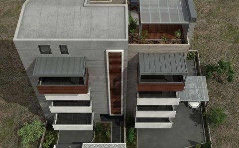 Ρετιρέ πολυκατοικίας με μεταλλική πέργκολα 3d