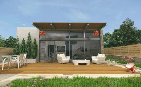 Πρόσοψη μοντέρνας κατοικίας 3d