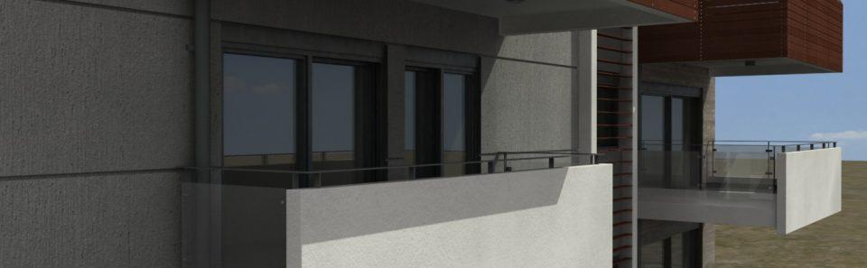 Λευκά μπαλκόνια με συμπαγής μετοπη και γυαλί στο πλάι