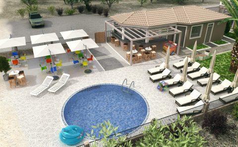 Συνολική παρουσίαση πισίνας μπαρ μελλοντικής κατασκευής