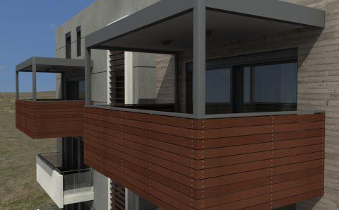 Μεταλλικό μπαλκόνι με ξύλινη επένδυση εικονική προσέγγιση