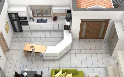Όψη κουζίνας στο χώρο 3d