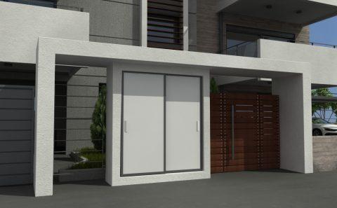 Μοντέρνα είσοδος πολυκατοικίας έξυπνος σχεδιασμός τρισδιάστατη απόδοση