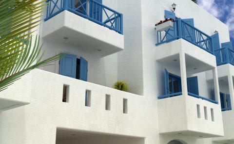 Χτιστα μπαλκόνια με πολεμιστές τρισδιάστατη εικόνα