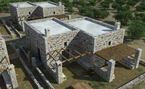 Πέτρινα σπίτια νησιώτικου συγκροτήματος 3d παρουσίαση
