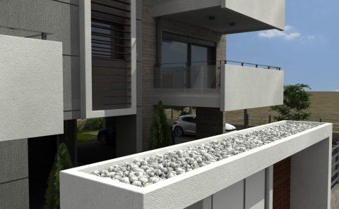 Τρισδιάστατη κατασκευή εισόδου πολυκατοικίας με λευκά χαλίκια
