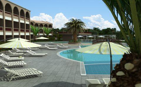 Προοπτική εικόνα πισίνας παραλιακού ξενοδοχείου