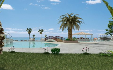 Εξωτερική πισίνα ξενοδοχείου τρισδιάστατη απόδοση