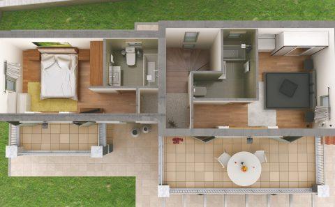 Επιπλωμένη τρισδιάστατη κάτοψη ορόφου κατοικίας