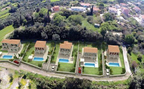 Τρισδιάστατες μονοκατοικίες με πισίνες τοποθετημενες σε πραγματική φωτογραφία
