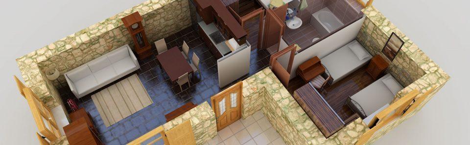 Τρισδιάστατη προοπτική κάτοψη πέτρινης κατοικίας