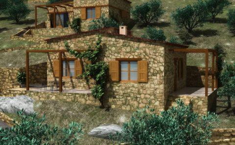 Πετροκτιστη μονοκατοικία 3d απεικόνιση