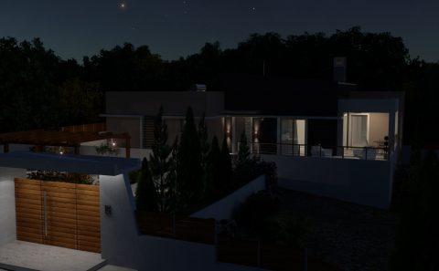 Νυχτερινό φωτορεαλιστικο σπιτιού