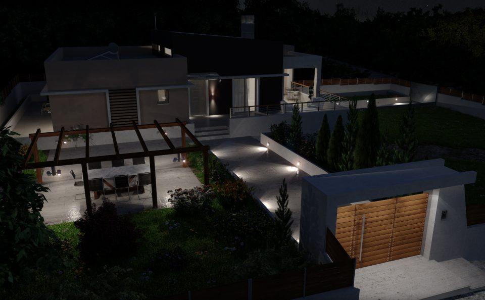Νυχτερινή τρισδιάστατη εικόνα κατοικίας
