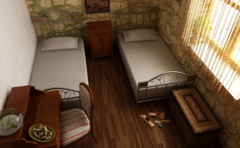 Μονα κρεβάτια πέτρινου σπιτιού
