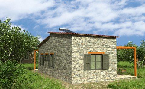 Πετροκτιστη τοιχοποιια μονοκατοικίας τρισδιάστατη προσομοίωση