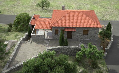 Αποτύπωση οικοπέδου κατοικίας από πέτρα φωτορεαλιστική εικόνα