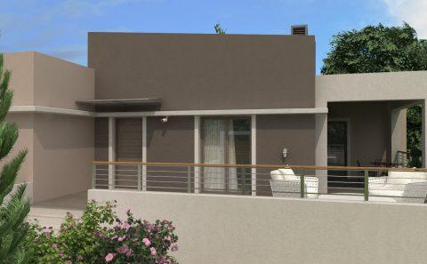 Είσοδος σπιτιού με βεράντα τρισδιάστατο