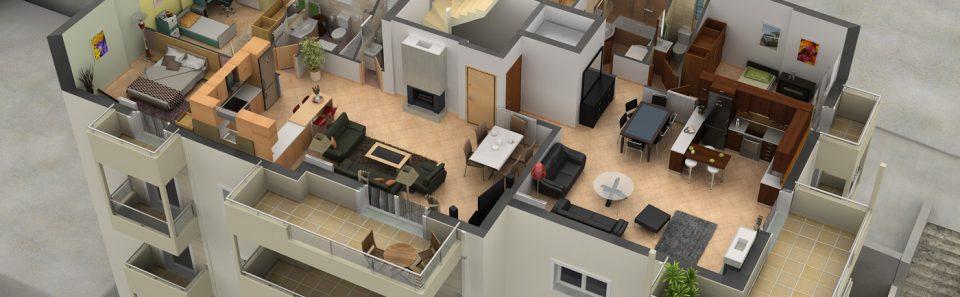 Εικονική αφαίρεση τοιχοποιιας πολυκατοικίας ανάδειξη εσωτερικού