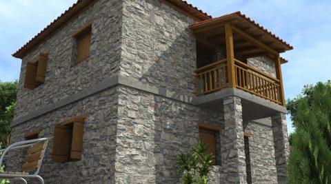 Τρισδιάστατο πέτρινου σπιτιού γκρι πέτρα