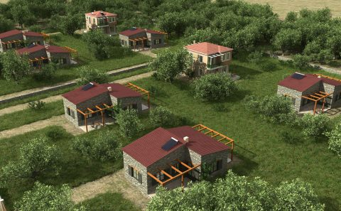 3d εικόνα σπιτιών με τα οικόπεδα τους