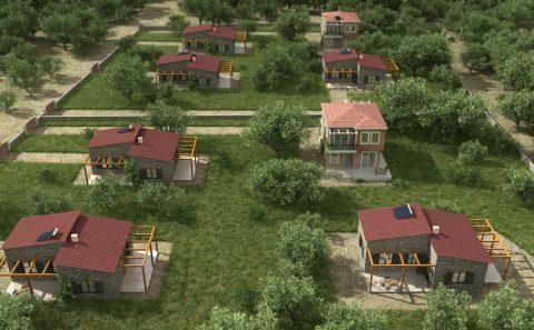 Πέτρινα σπίτια στους ελαιώνες Θάσου φωτορεαλιστική εικόνα