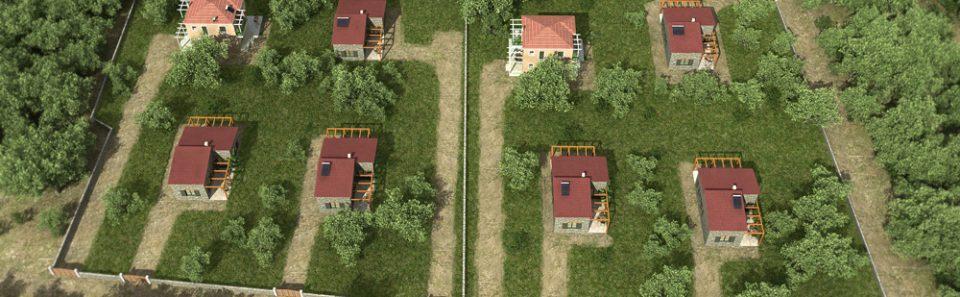 Συνολική άποψη κατοικιών στους ελαιώνες 3d