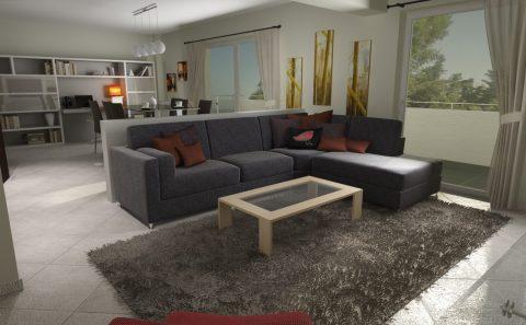 Γωνιακός καναπές τρισδιάστατη φωτορεαλιστική παρουσίαση