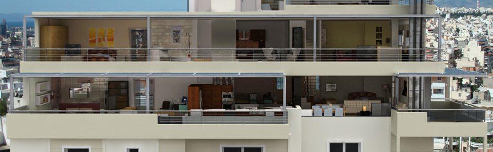 3d όψη πολυκατοικίας με εικονική αφαίρεση τοιχοποιιας